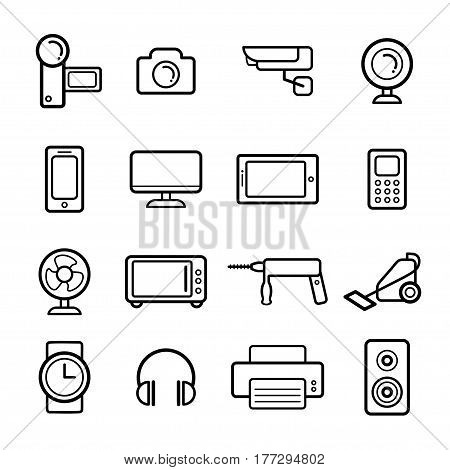 Big vector set of electrical engineering, household appliances and electronics icons in line style