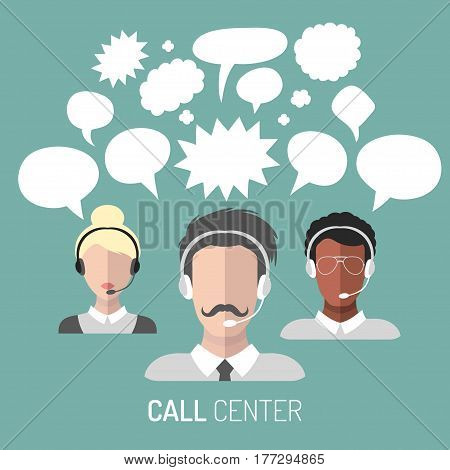 Vector illustration of customer service, call center operator icons with headsets with blank speech bubbles