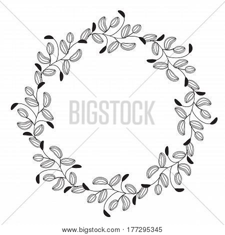 round flourish vintage decorative whorls frame leaves isolated on white background. Vector calligraphy illustration EPS10.