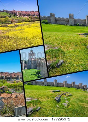 Collage of Panoramic view of the historic city of Avila, Castilla y Leon, Spain.