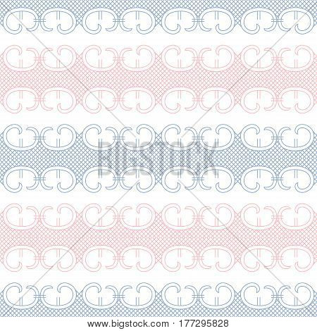 Abstract vintage lace seamless pattern vector in pink and blue colors on white background