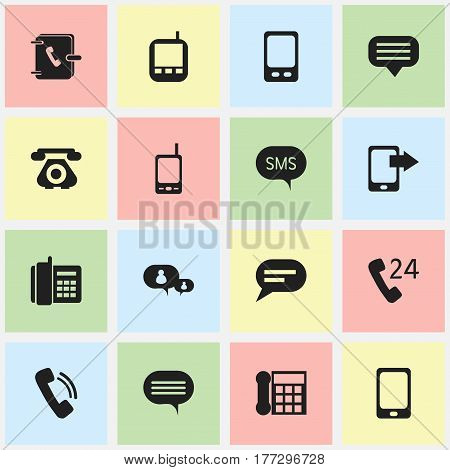 Set Of 16 Editable Communication Icons. Includes Symbols Such As Retro Telecommunication, Forum, Address Notebook And More. Can Be Used For Web, Mobile, UI And Infographic Design.