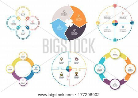Business infographics. Diagrams with 4 steps, options. Vector pie charts.