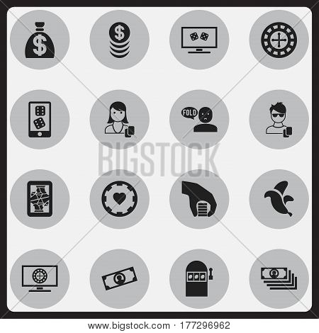 Set Of 16 Editable Business Icons. Includes Symbols Such As Jackpot, Woman Gamer, Roulette On Monitor And More. Can Be Used For Web, Mobile, UI And Infographic Design.