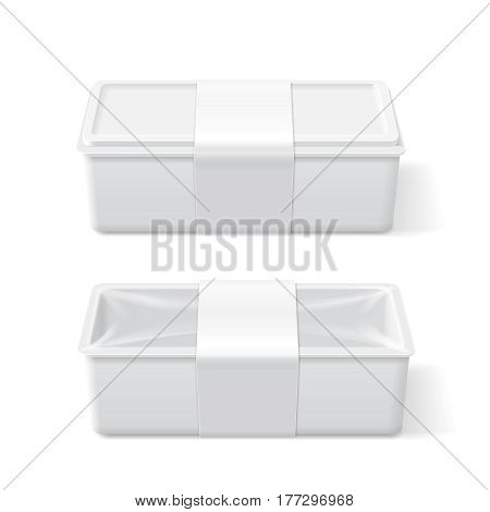 Empty white plastic food container. Packaging template vector.