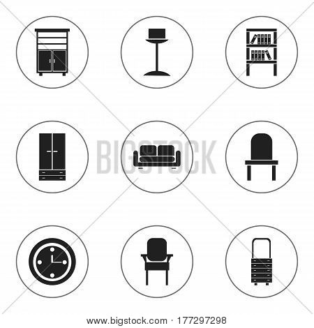 Set Of 9 Editable Furniture Icons. Includes Symbols Such As Stool, Bookrack, Lectern And More. Can Be Used For Web, Mobile, UI And Infographic Design.