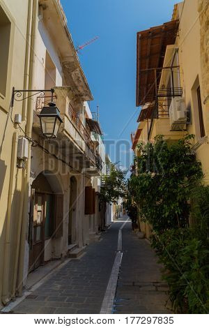 Rethymno, Greece - August  4, 2016: Narrow Venetian Street On Old Town.