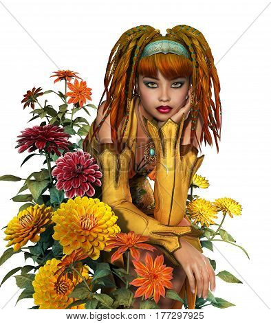 3d computer graphics of girl with dreadlocks is surrounded by dahlias