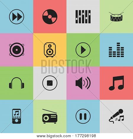 Set Of 16 Editable Melody Icons. Includes Symbols Such As Disc, Rewind, Sound And More. Can Be Used For Web, Mobile, UI And Infographic Design.