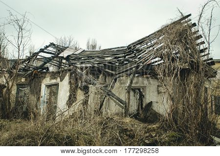 View of an old abandoned log house finished with a plaster in a village.