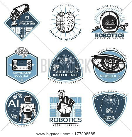 Colorful futuristic innovations labels collection with robotic cybernetic artificial intelligence technologies in vintage style isolated vector illustration