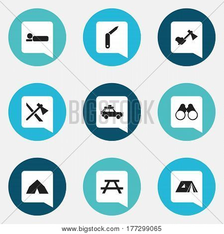 Set Of 9 Editable Camping Icons. Includes Symbols Such As Tepee, Clasp-Knife, Desk And More. Can Be Used For Web, Mobile, UI And Infographic Design.