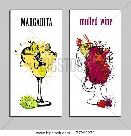 Vector illustration of cocktails menu drawing Margarita and Muled wine with lime. Watercolor cocktail banners. Alcohol, Summer drinks. Spray, spot watercolor effect. Isolated objects.