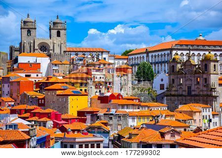 View over the old town of Porto Portugal with the cathedral the church of St. Lawrence and colorful buildings