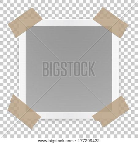 Photo frame concept isolated on transparent background, sticked with tape pieces. Vector realistic illustration.