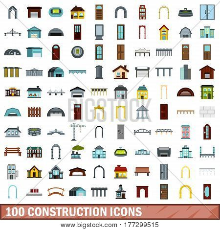 100 construction icons set in flat style for any design vector illustration