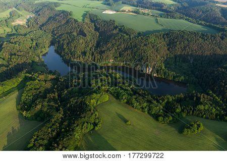 Vezicky rybnik in the Bohemia Paradise on an aerial photograph