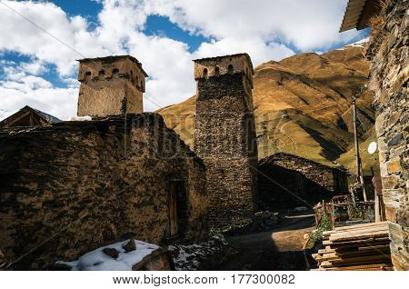 Ruined and abandoned traditional Svan Towers and machub houses with flagstone in Ushguli commune Upper Svaneti Georgia. Georgian landmark