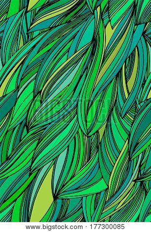 Seamless abstract leaves vector pattern. Exotic tropical ornament