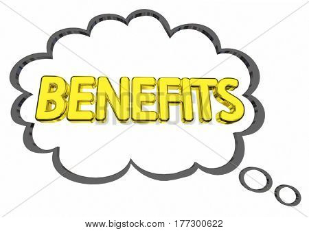 Benefits Thought Cloud Features Compensation Word 3d Illustration