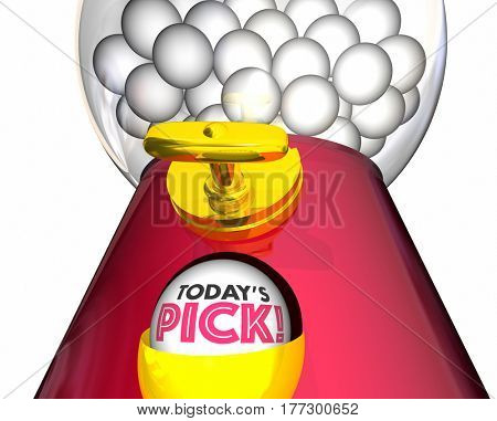 Todays Pick Gumball Machine Choice Special 3d Illustration