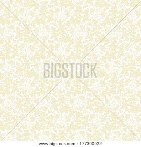 Beige dandelion seamless pattern vector on white background