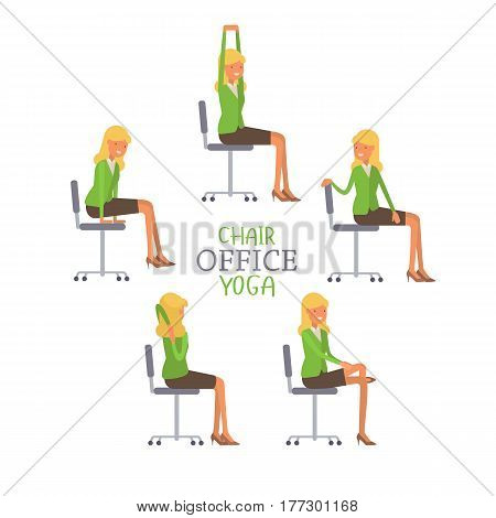 Vector Illustration With Office Chair Yoga. Business Lady Doing Workout And Stretching. Woman In Sui