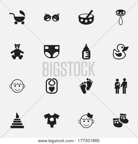 Set Of 16 Editable  Icons. Includes Symbols Such As Bath Toys, Cheerful Child, Footmark And More. Can Be Used For Web, Mobile, UI And Infographic Design.
