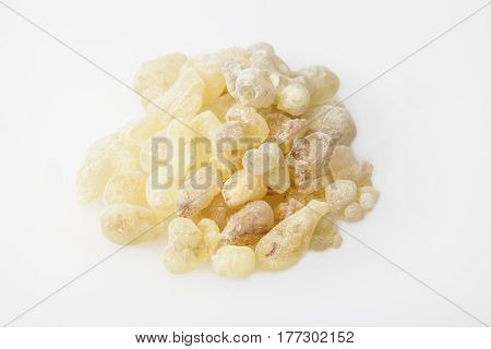 High Quality Frankincense resin from Oman, isolated on  the white background