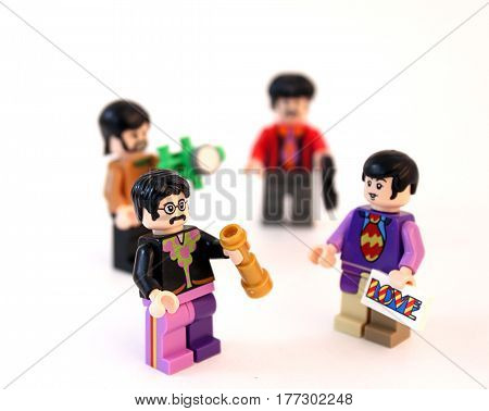 Colorado, USA - March 20, 2017: Studio shot of Lego minifigure Beatles standing together isolated on white background.