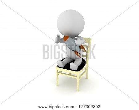 A 3D character sitting on a chair and playing with a retro toy rocket.