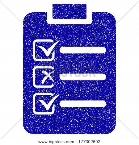 Grunge Check List rubber seal stamp watermark. Icon symbol with grunge design and dirty texture. Unclean vector blue emblem.