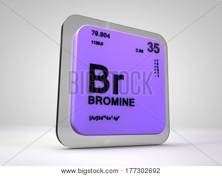 Bromine- Br - chemical element periodic table 3d render