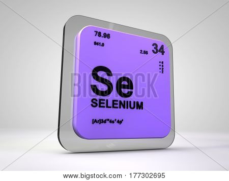 Selenium- Se - chemical element periodic table 3d render