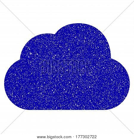 Grunge Cloud rubber seal stamp watermark. Icon symbol with grunge design and dust texture. Unclean vector blue sticker.