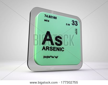 Arsenic- As - chemical element periodic table 3d render
