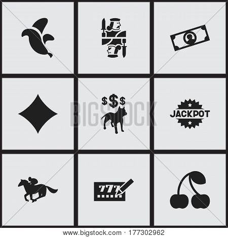 Set Of 9 Editable Gambling Icons. Includes Symbols Such As Rhombus, Currency, Dog Fighting Bet And More. Can Be Used For Web, Mobile, UI And Infographic Design.