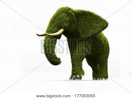 Green elephant on a white background.,3d render