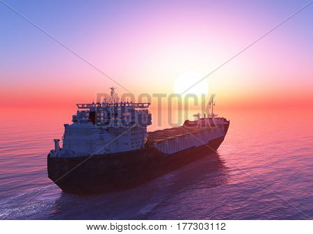 The tanker in the sea at sunset.  .3d render