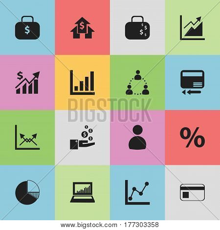 Set Of 16 Editable Statistic Icons. Includes Symbols Such As Cash Briefcase, Bank Payment, User And More. Can Be Used For Web, Mobile, UI And Infographic Design.