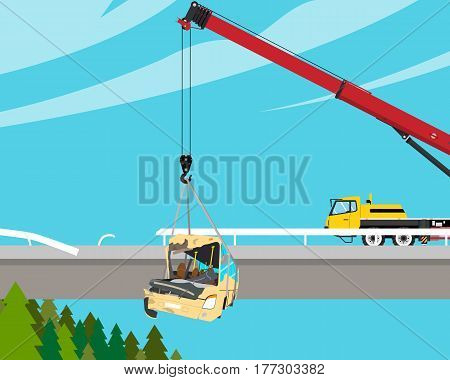 The driver of the tourist bus was tired and fell asleep at the wheel, the bus fell from the bridge and crashed. Vector illustration