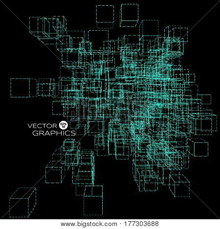 Abstract technology vector background. Abstract architect. Cubic based cyberspace.