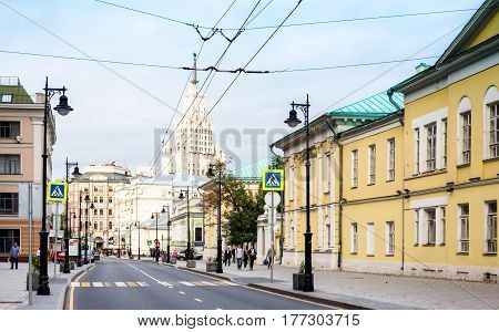 MOSCOW - AUGUST 26 2016: Pedestrian crossing on Myasnitskaya street view to the Red Gate Building. This area is known from 1482 there are a lot of historic buildings here.