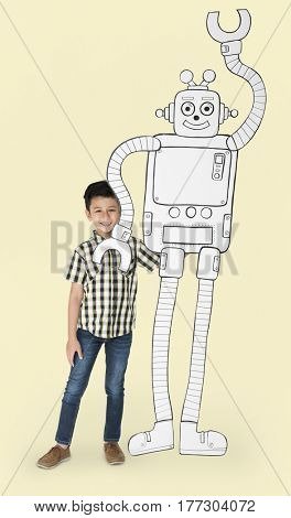 Boy Standing Full Body With Robot