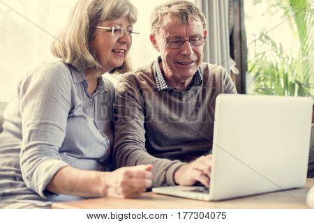 Mature Couple Technology Digital Device