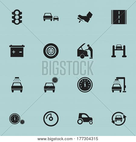 Set Of 16 Editable Car Icons. Includes Symbols Such As Stoplight, Race, Car Lave And More. Can Be Used For Web, Mobile, UI And Infographic Design.