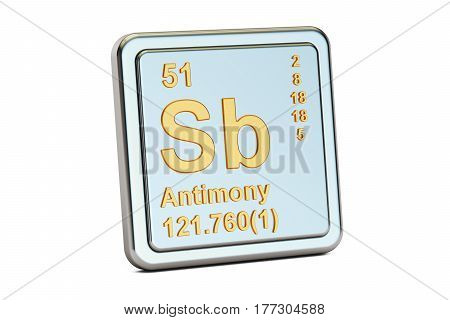 Antimony Sb stibium chemical element sign. 3D rendering isolated on white background