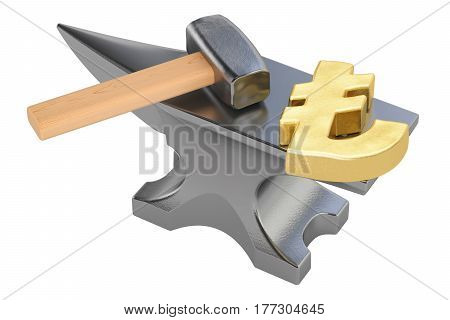 anvil with gold lira symbol 3D rendering isolated on white background