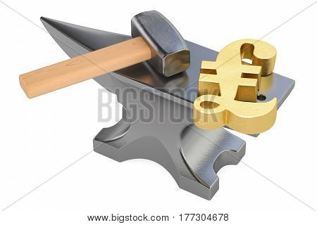 anvil with gold pound sterling symbol 3D rendering isolated on white background
