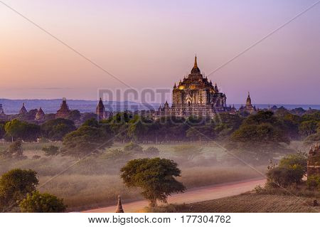 Scenic view of ancient Bagan temple during golden hour